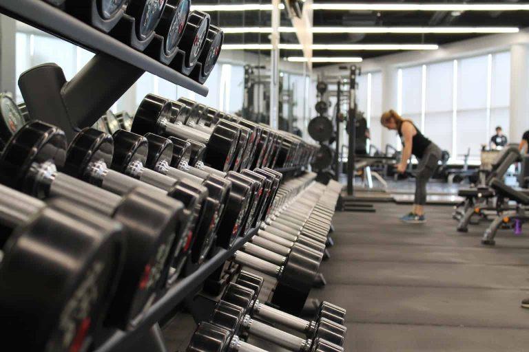 Dumbell Rack inside a Gym