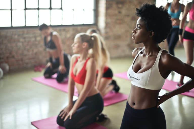 Group of Women Focused During Aerobics Class